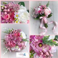 WEDDING MIXED FLOWER PINK WHITE BRIDE BOUQUET COUNTRY PEONY DAISY HYDRANGEA